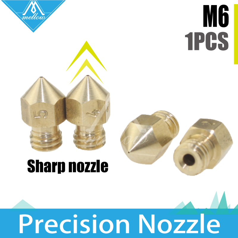 Reprap i3 3D printer MK8 Extruder M6 Threaded Brass Nozzle 0.1mm-0.5mm head For 1.75MM creality cr-10 Anet A8 J-head extrusion anet a8 3d printer extruder kit for reprap prusa i3 single 0 4mm nozzle head extrusion head 1 75mm hotend