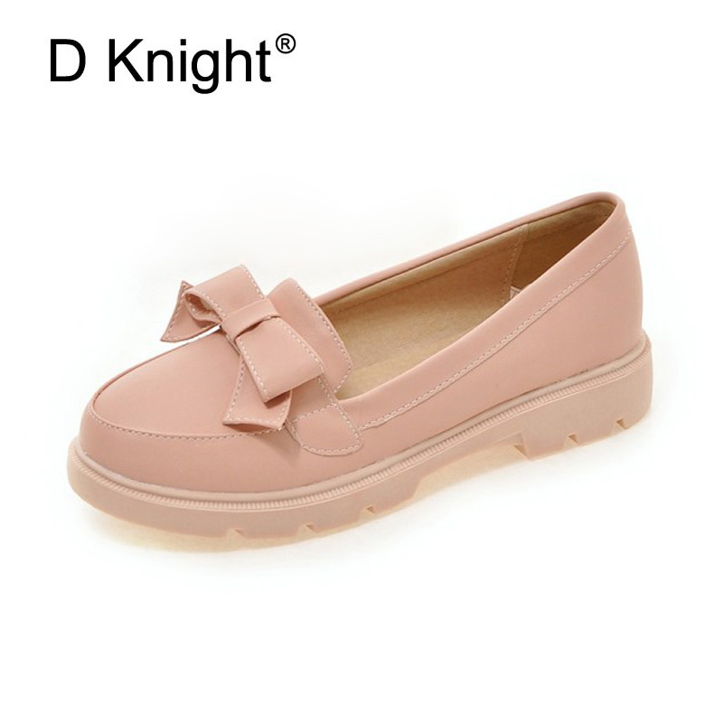 New Fashion Bow Round Toe Slip-on Women Loafers Sweet Candy Color Women Casual Flat Shoes Size 34-43 Ladies Flats Shoes Woman купить