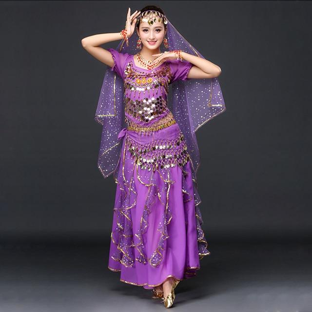 4929444513b3 2018 Women Dancewear Sari Belly Dance Costume Set Bollywood Indian Dance  Costume (Set include top