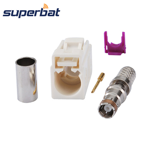 Superbat Fakra B White/9001 Radio Crimp Female Jack with Phantom RF Coaxial Connector for Cable RG58 LMR195