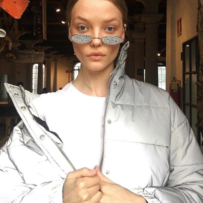 Dulzura flash reflective women padded jacket short tops warm 18 autumn winter solid zipper oversize loose outwear coats casual 14