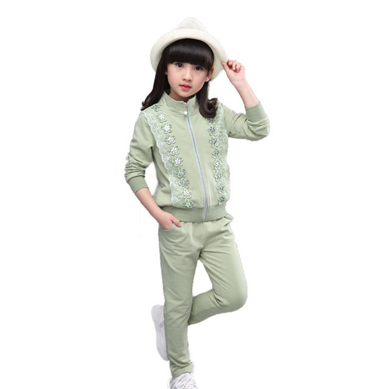 Girls clothes Cotton Bow Lace Zipper Children clothing sets Jackets+Pants Winter Autumn Casual Kids Sport Suits Girl outfits