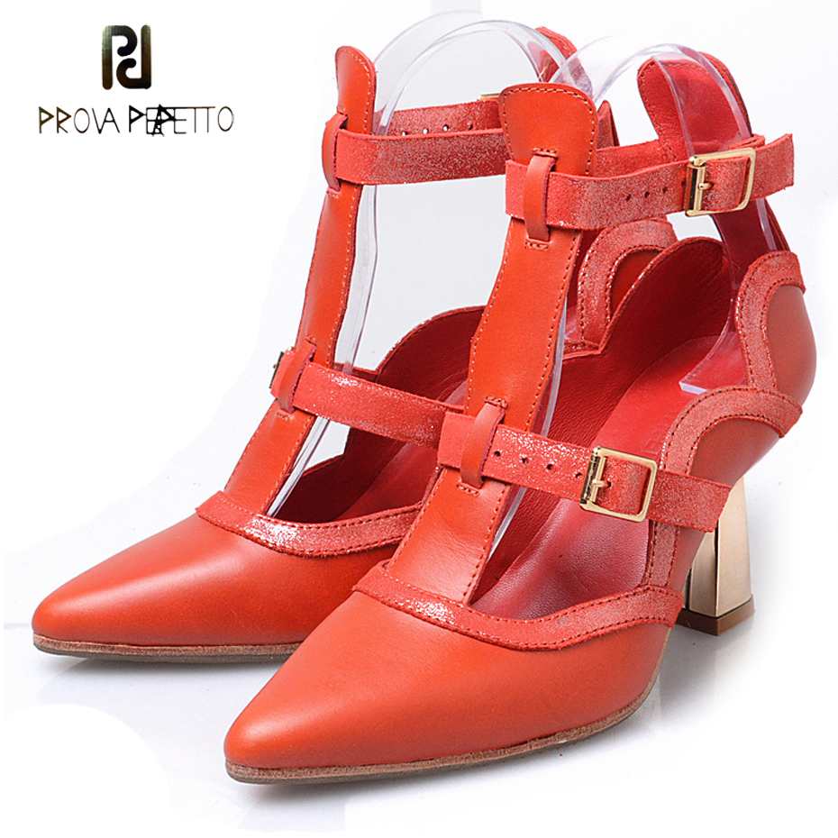 Prova Perfetto novelty design t buckle strap women pumps sexy pointed toe metal strange heel wave line shoes mujer zapatos fashionable women s pumps with t strap and pointed toe design