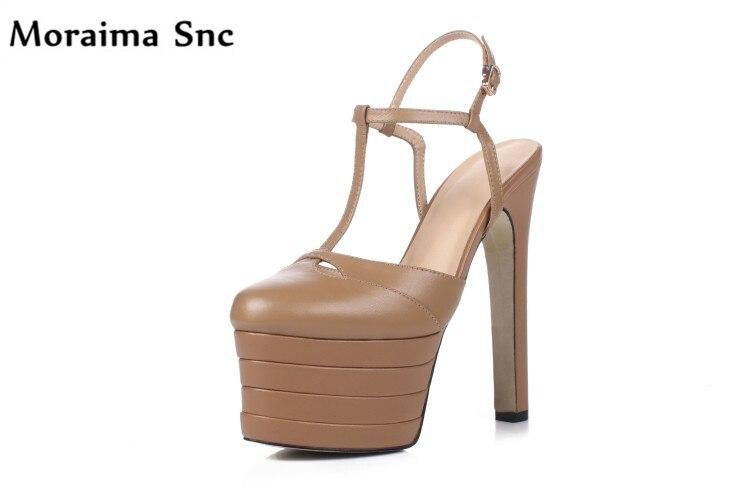 цена на Moraima Snc high platform Round toe high heel mixed colors T-tied Ankle buckle casual shoes fretwork handmade cover heel