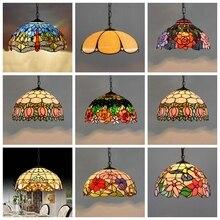 Barroco tiffany luzes pingente de vidro manchado corrente iluminação suspensa luminária para casa sala de estar sala de jantar lâmpadas e27 110 240 v