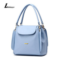 Women Pu Leather Bucket Bags Simple Shoulder Bags For Ladies Sac A Main Female Sky Blue