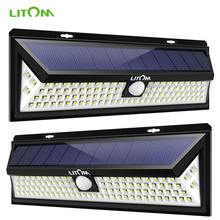 2 Pack LITOM 102 LED Solar Light Outdoor Super Bright Motion Sensor Security Lights Wireless Waterproof Wall Lamp Luces Solares