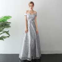 Sexy Long Evening Dress 2019 Sheer Boat Neck Prom Gown A line Party Dresses Silver Color Tulle Sequin Formal Robe de soiree