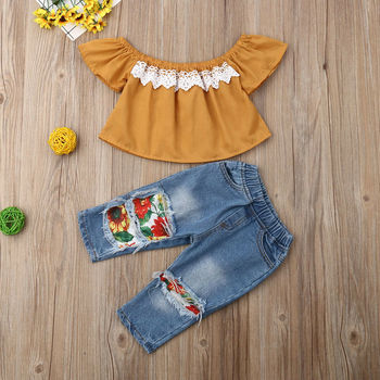 2PCS Toddler Kids New born Baby Girl Clothes Off Shoulder Lace Shirt Tops+Sunflowers Hole Denim Pants Outfits 1-5Y Fast Shipping 2