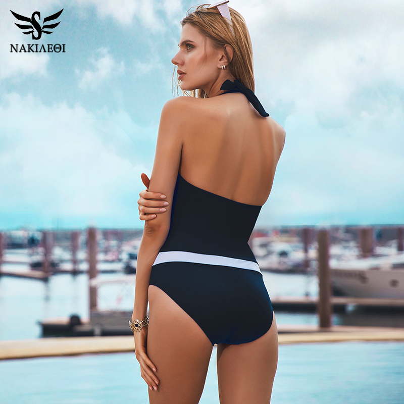 NAKIAEOI 2018 New One Piece Swimsuit Women Vintage Bathing Suits Halter Plus Size Swimwear Sexy Monokini Summer Beach Wear Swim 1