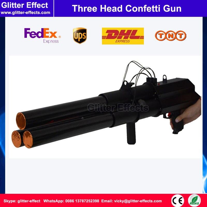 3 shot stage confetti machine three head trigger aluminum electric confetti paper dj gun wedding confetti cannon shooter