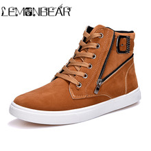 New High-top Men's Vulcanized Shoes England Style Male Sneak