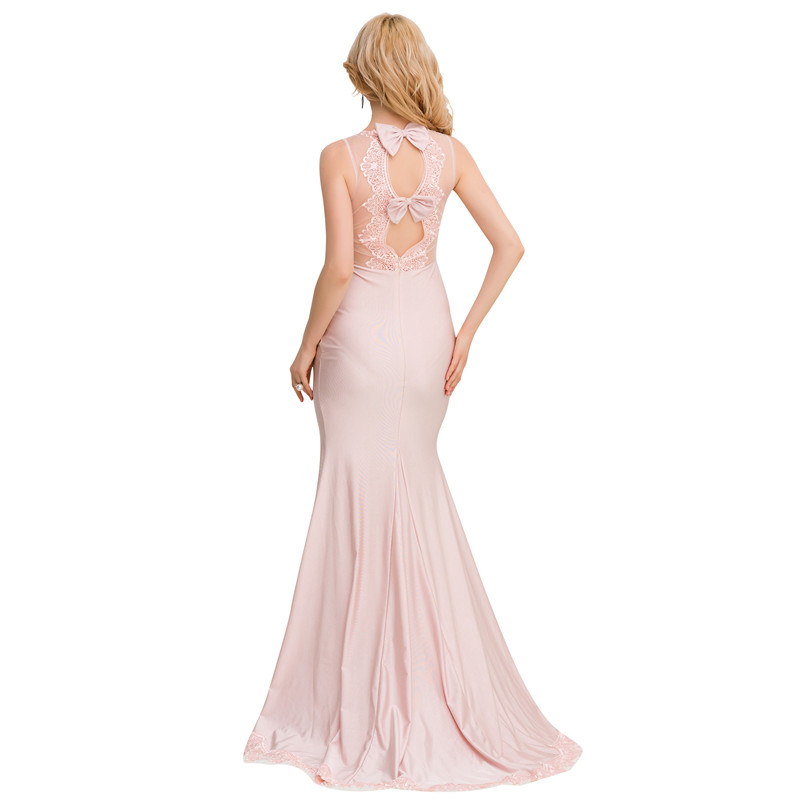 VE1004 Pink backless long dress sexy o-neck off shoulder halter lace dress fashion floor length sexy maxi dress with bow dresses