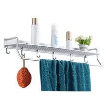 40/50/60cm Aluminum Kitchen Bathroom Wall Mounted Shelf Basket Shelves Storage Rack With Towel Shower Bar Hooks 801516