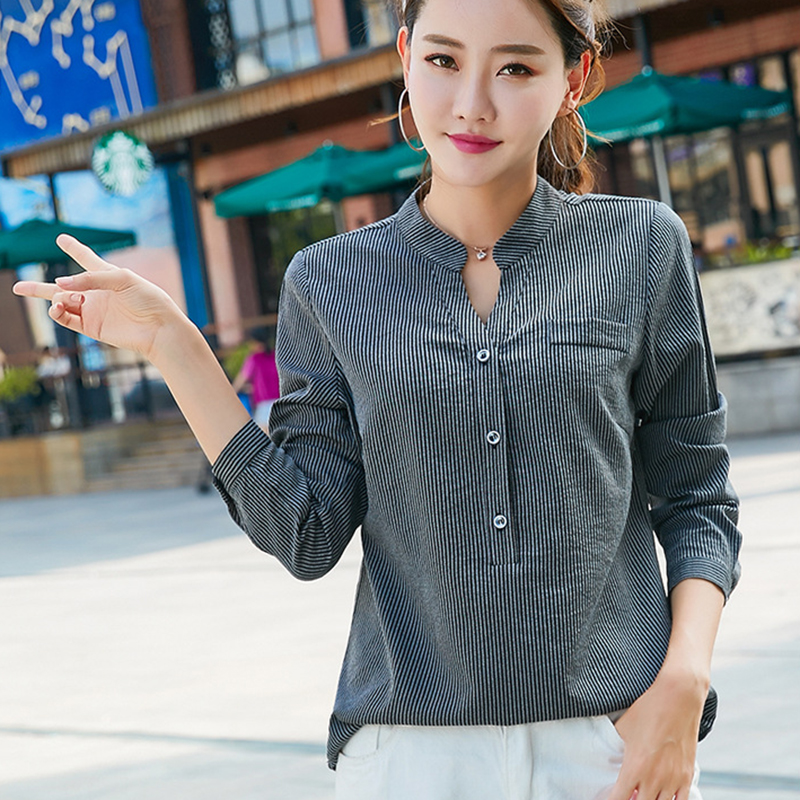 Women's Clothing Fashion Women Ladies Chiffon Stripe Bandage V-neck Tees Tops Long Sleeve Shirts Loose Blouses Tops Summer Blouse Female Blusa