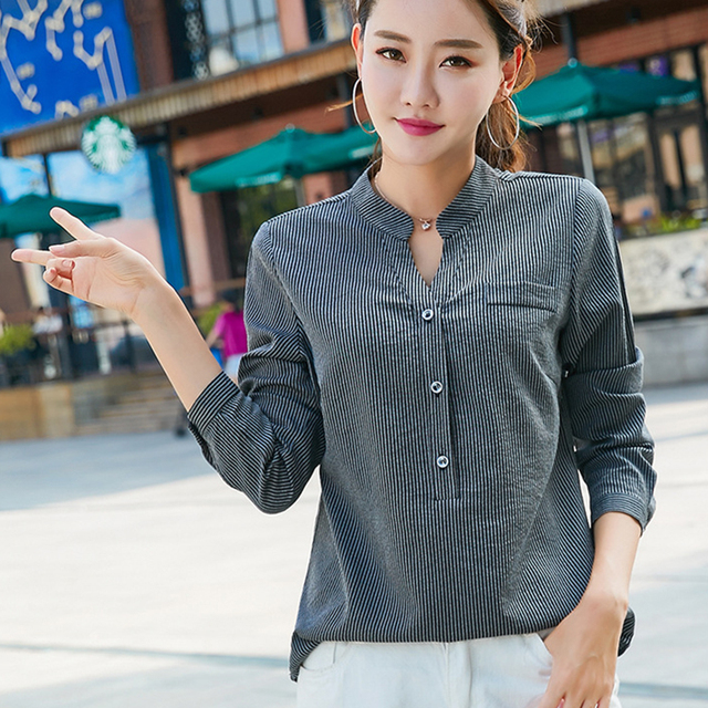 3891aa3d46b Back Button Striped Shirt Women Blusas Mujer De Moda 2018 Autumn V-Neck  Long Sleeve Womens Tops And Blouses Casual Ladies Shirts