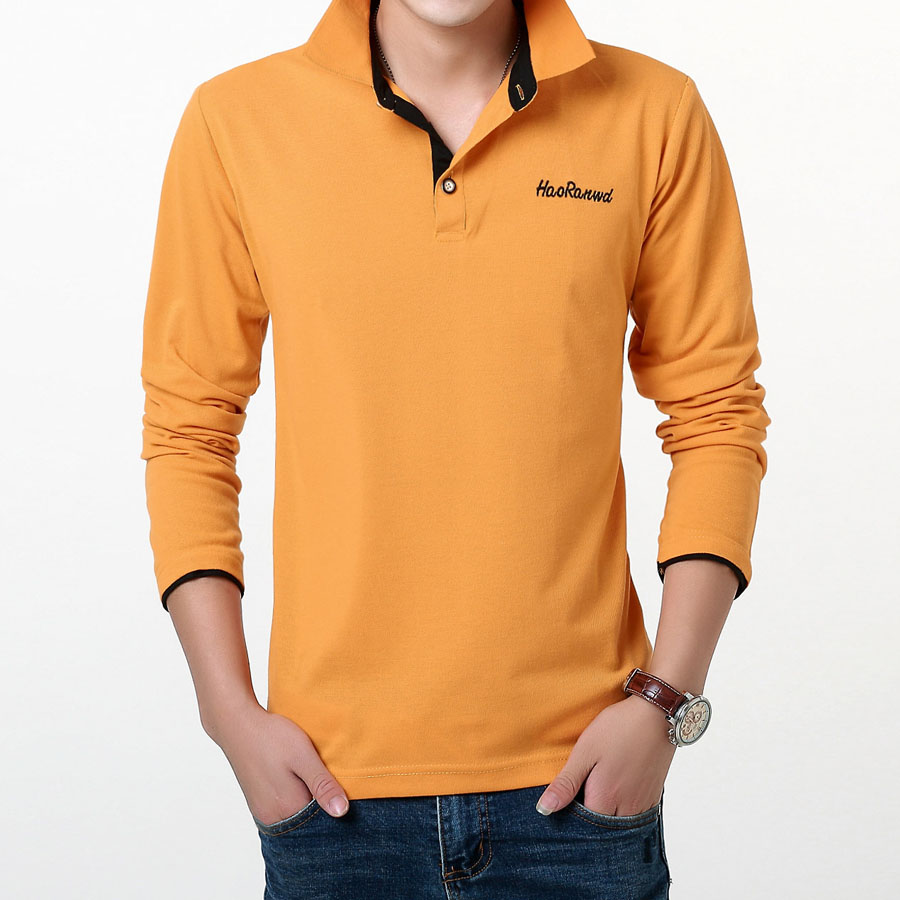 Men   polo   shirt long-sleeve lapel 2019 new spring and autumn thin casual trend letter male   polo   shirt teenage boy tops P07b