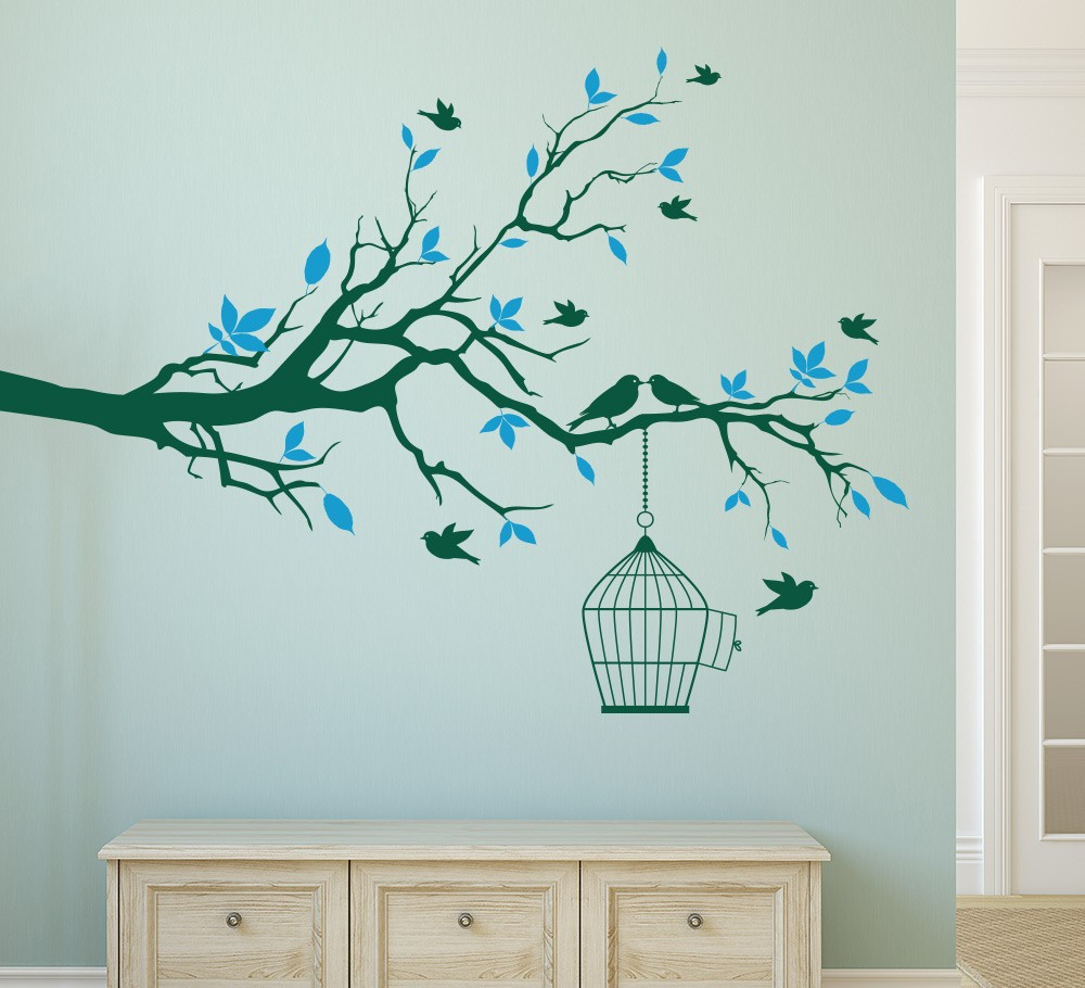 Delightful Wall Stickers Tree Branches Part - 14: Tree Branch Wall Art Sticker With Bird Cage Removable Vinyl Wall Decals Wall  Stickers For Living Room Home Office Decor-in Wall Stickers From Home U0026  Garden ...