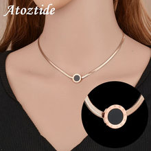 Atoztide Hohe Qualtiy Römischen Zahlen Shell Flache Schlange Kette Halskette Frauen Einstellbar Rose Gold Farbe Schlüsselbein Kette Colliers