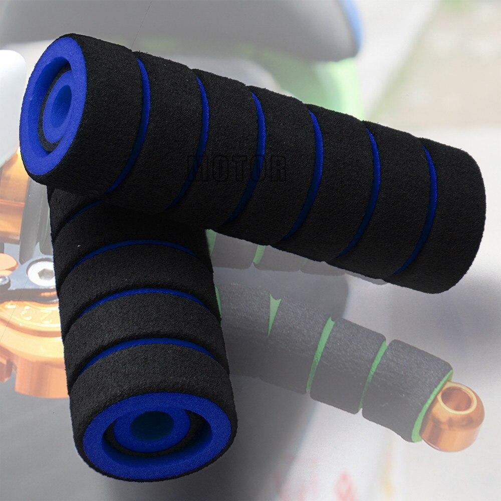 Blue Soft Nonslip Motorcycle Bike 22mm Handlebar Grips Hand Brake Sponge Cover