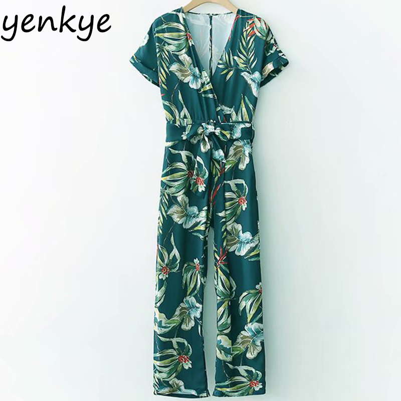 Boho 2018 Women Green Printed Summer Jumpsuit Lady Sexy V Neck Short Sleeve With Belt Long Overalls XDWM1354