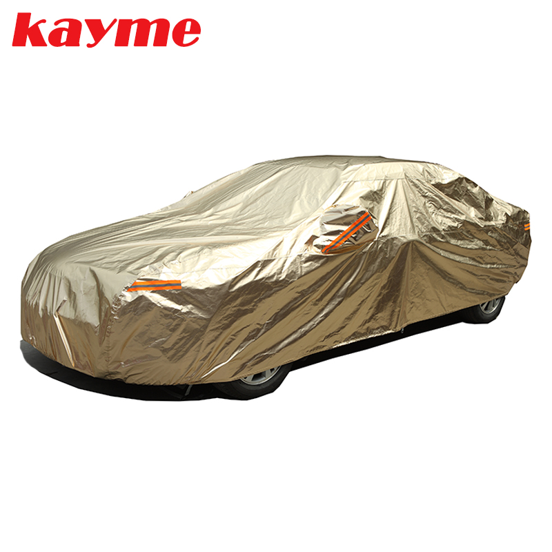 Kayme aluminium Waterproof car covers super sun protection dust Rain car cover full universal auto suv protective for vw toyota auto rain shield window visor car window deflector sun visor covers stickers fit for toyota noah voxy 2014 pc 4pcs set