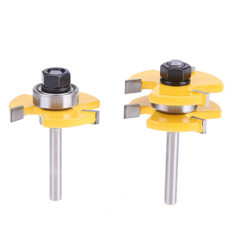 2pcs 1/4inch Shank Woodworking Cutter Tongue Groove Router Bit Wooden Milling Cutter Professional Woodworking Tools Accessories 16pcs 14 25mm carbide milling cutter router bit buddha ball woodworking tools wooden beads ball blade drills bit molding tool