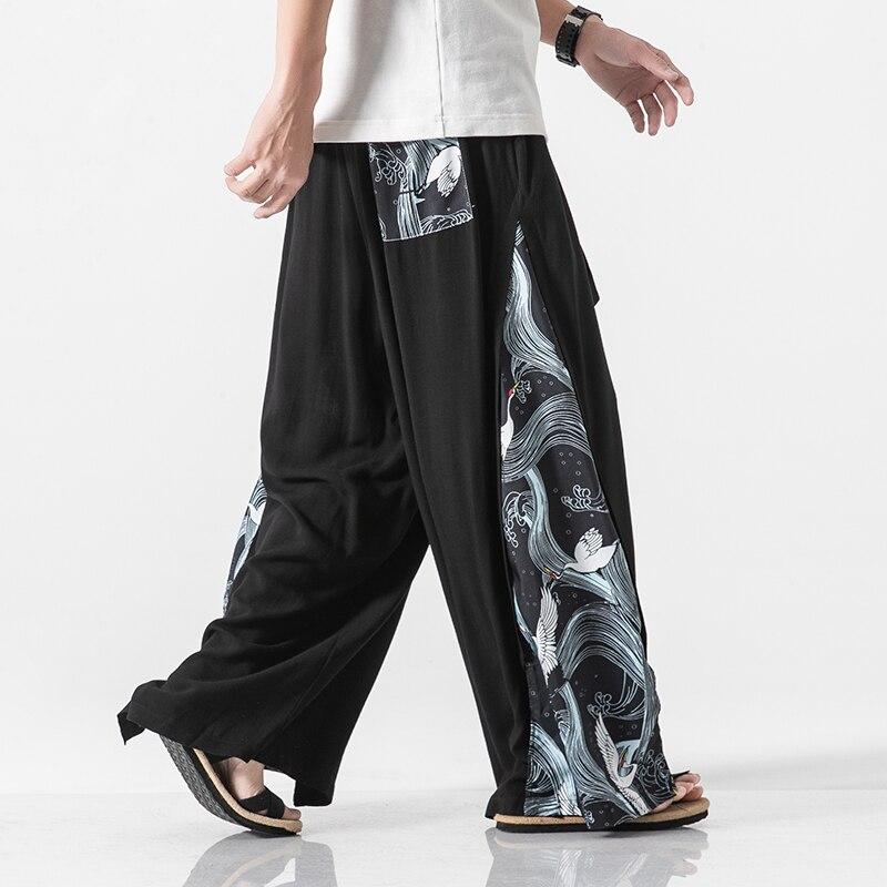 Men Casual Loose Straight Wide Leg Pants Men Women Skirt Pant Cotton Linen Splice Trousers Stage Show Clothes