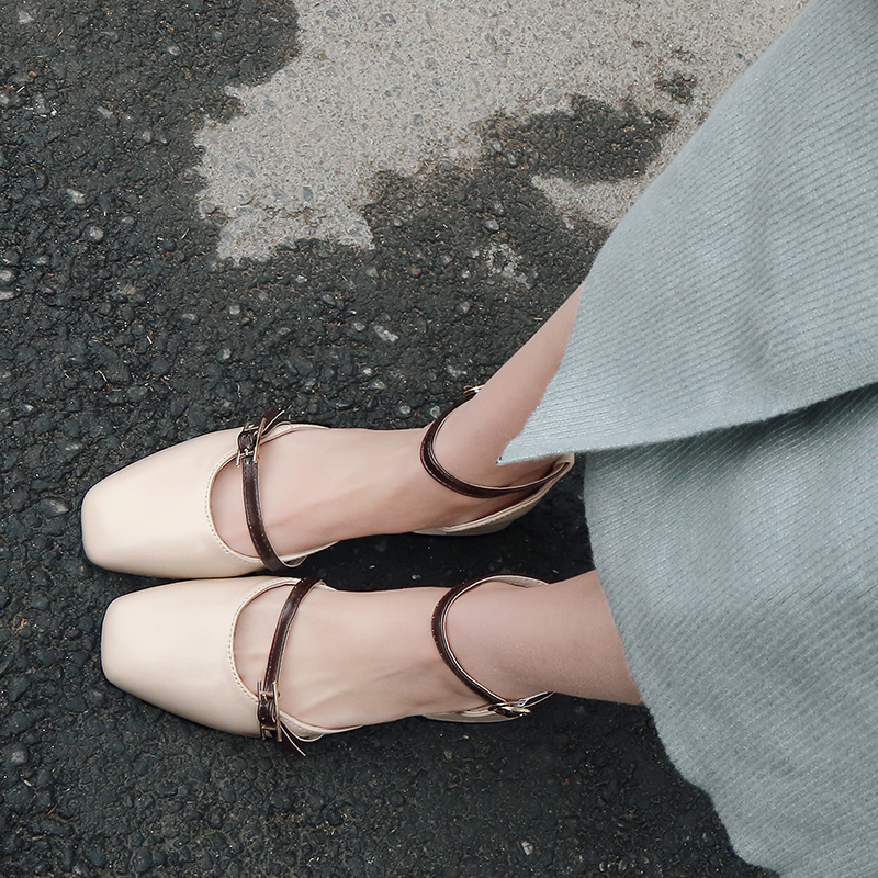 noir Footwears D'été Femmes Bureau Quotidienne V104 Sandales Med Carré Couleur Talons Chaussures apricot Beige Bout Solide Dames xZ0UvU