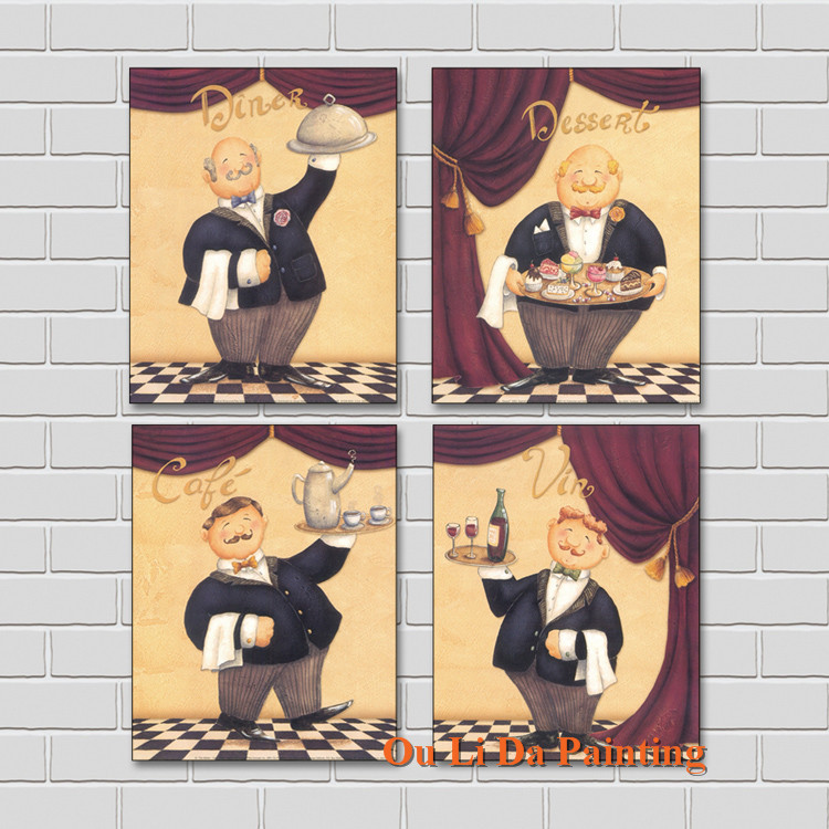 free shipping Mr Bean canvas prints oil painting europe Waiter <font><b>cartoon</b></font> printed on canvas hotel wall art decoration picture image