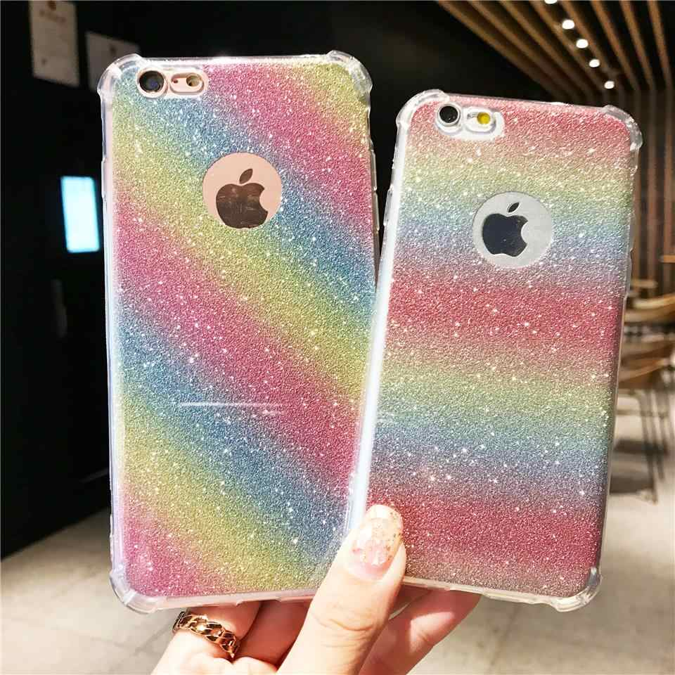 AntiKnock Glitter 2 in 1 Rainbow Case For iPhone 6s 6 SE 8 X XR XS MAX TPU Cover Nokia 5 6 2018 7 Plus OnePlus 5T Phone Cases