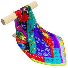 Чистый Шелковый шарф, женский шарф, кошачий платок, шарф для волос, платок, животный шелк, бандана, маленький квадратный шелковый платок