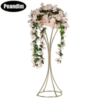 Peandim Elegent Gold Flower Rack 80CM Metal Road Lead Wedding Centerpiece Flowers Stand 10pcs Vases Event Party Home Decoration