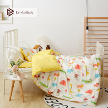 Liv-Esthete 2019 New 100% Cotoon Zoo Kids Cartoon Blue Bedding Set Duvet Cover Pillowcase Bed Linen For Mom Baby 3Pcs