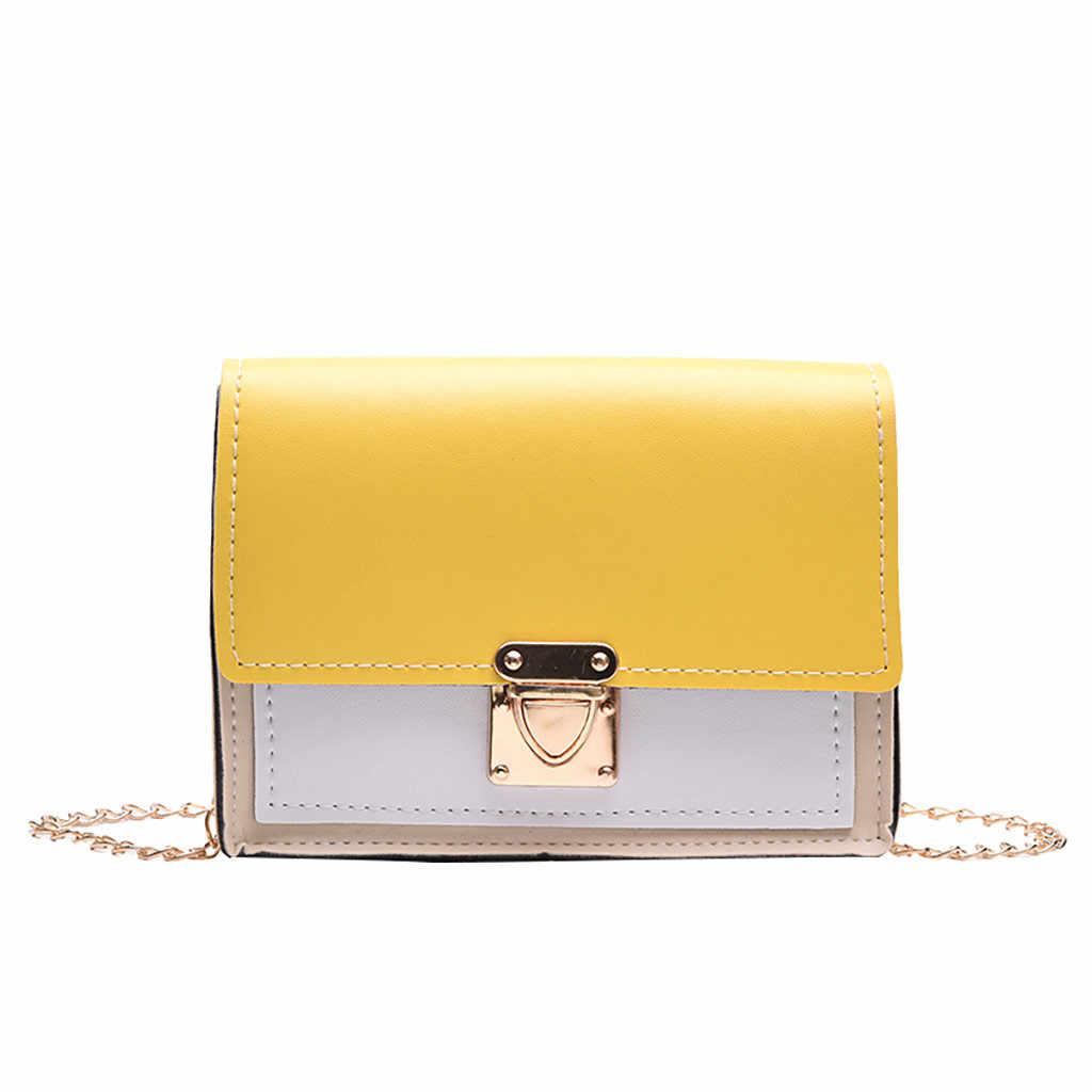 Mode sac 2019 femmes mode chaîne solide couverture serrure sac à bandoulière sac à bandoulière téléphone sac en cuir PU pièce sac a main femme