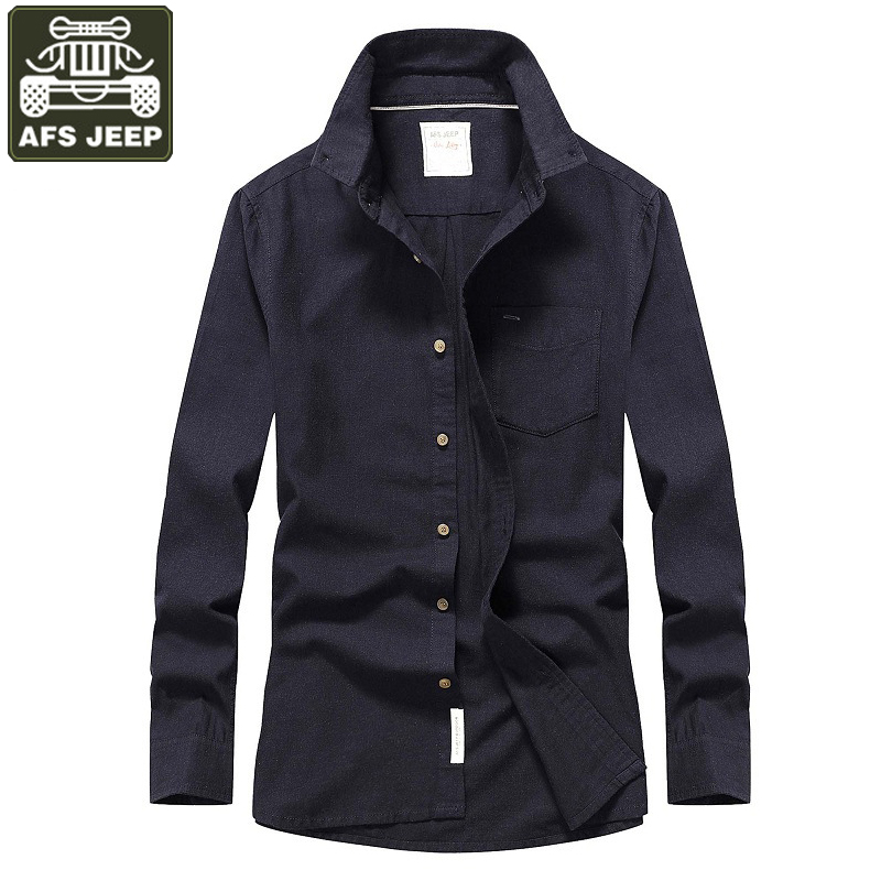 AFS JEEP Brand Shirt Men Casual Shirts New Autumn Clothes Long Sleeves Shirts 100% Cotton Solid Camisa Masculina Plus Size M 3XL