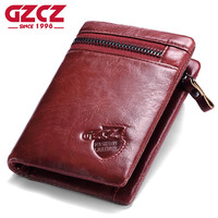 GZCZ Women Wallets And Purses Women S Genuine Leather Vallets Zipper Pouch Fashion Slim Walet Coin