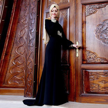 Black Mermaid Muslim Evening Dress Long 2017 Velvet Elegant Appliques Middle East Party Dresses With Hijab abiye gece elbisesi