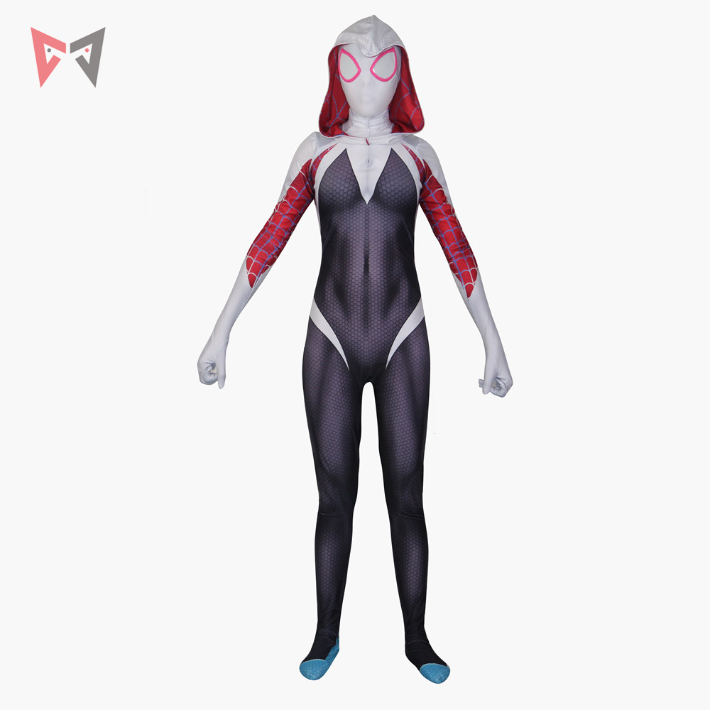 Spider-Man Into the Spider-Verse Gwen Stacy Cosplay Costume Christmas Halloween Spandex women bodysuit Spider-Gwen Jumpsuit