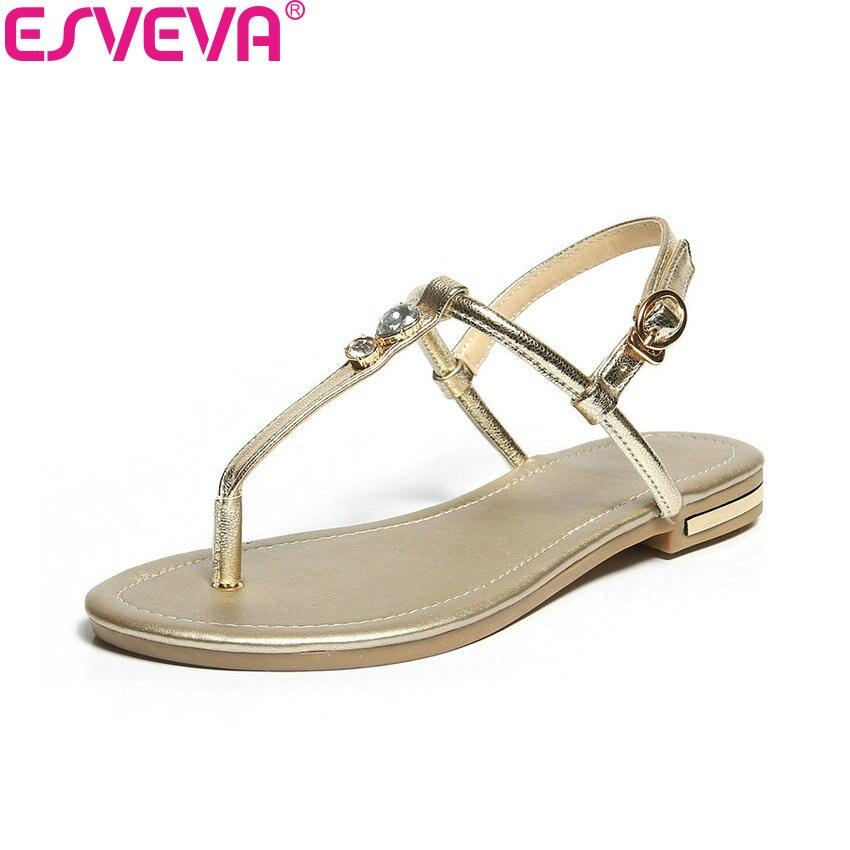 ESVEVA 2018 Femmes Sandales Chaussures Décoration Cristal Vache En Cuir PU Sandales D'été Faible Talons Slingback Femmes Chaussures Taille 34-43