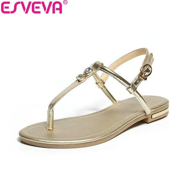 ESVEVA 2020 Kadın Sandalet Ayakkabı Dekorasyon Kristal Inek Deri PU Yaz Sandalet Düşük Topuklu Slingback Kadın Ayakkabı Boyutu 34- 43