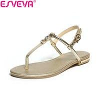 ESVEVA 2018 Women Sandals Shoes Decoration Crystal Cow Leather PU Summer Sandals Low Heels Slingback Women