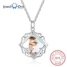 Openwork Pattern Border Personalized Custom Color Photo Necklace 925 Sterling Silver Anniversary Jewelry (JewelOra NE102089)