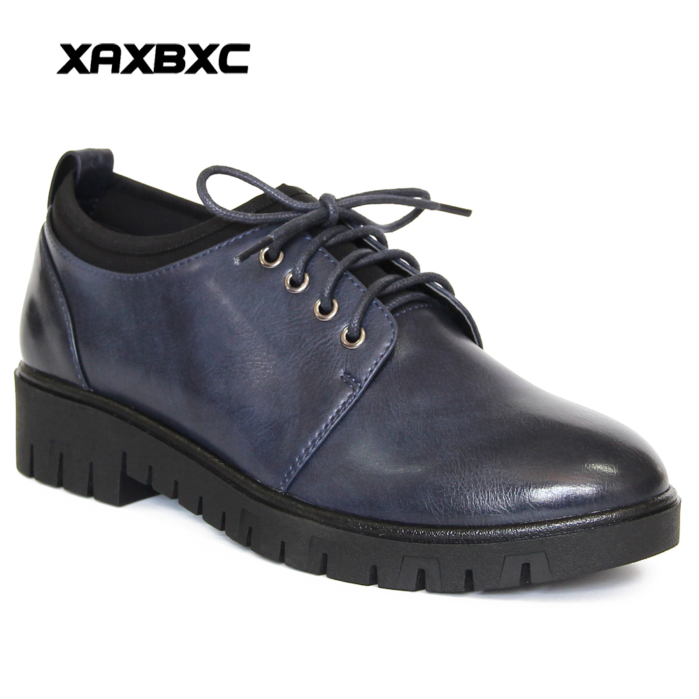 XAXBXC Retro British Style Leather Brogues Oxfords Flat Women Shoes Lace Up Blove Brown Round Toe Handmade Casual Lady Shoes