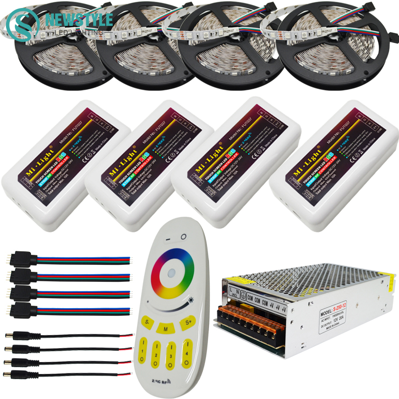 10m 15m 20m led strip light RGB 5050 DC 12V Flexible Tape + 4-Zone Control +Led remote control for RGB strip lights 20m rgb led strip 5050 flexible led light 50leds m 4pcs 4 zone controller led remote control 12v 15a power supply kit