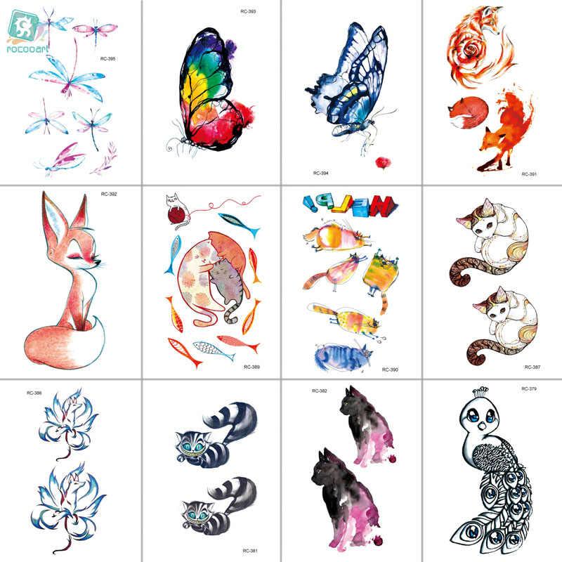 MB RC369-395 yeni su geçirmez geçici dövme çıkartmalar karikatür renkli çocuk çizim tilki sahte flaş Taty dövme tatouage