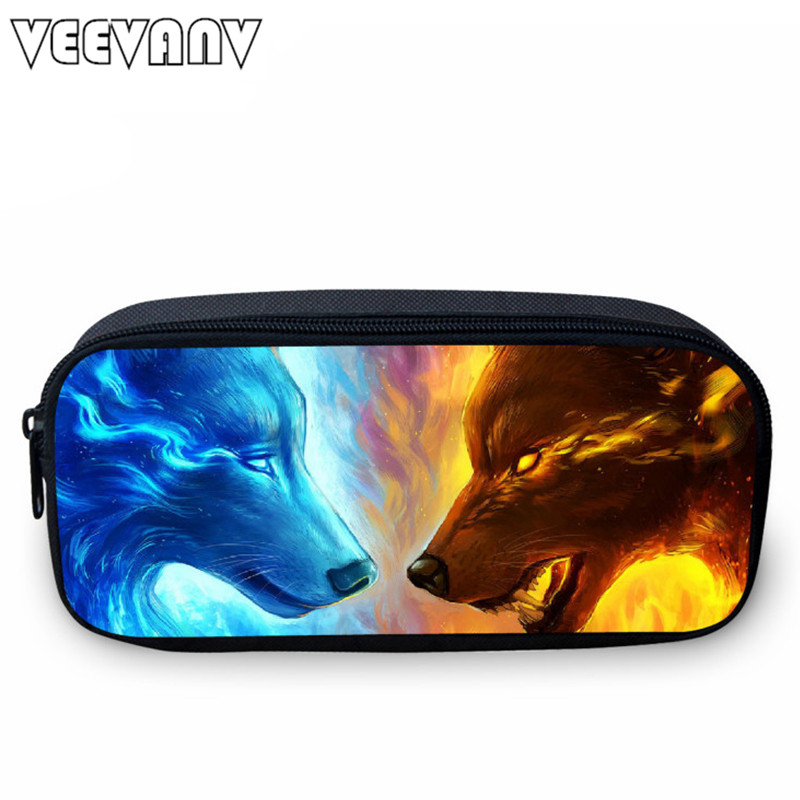 VEEVANV Animal Wolf Printing Case Holder Casual Cosmetic Bag Cute Animal Purses Kids Wallets School Case For Study Students Bags