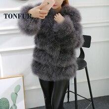2019 nueva moda Top Trend moda Vintage clásico cuello redondo piel auténtica de avestruz abrigo Casual chaqueta de piel de plumas TSR142