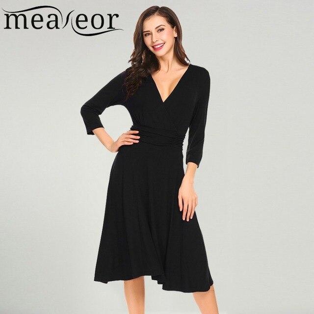 76e1546272e Meaneor Women Casual Dresses 2018 Spring Wrap Split V Neck 3 4 Sleeve Slim  Waist Solid A-line Mid Calf Feminino Vestidos Dress