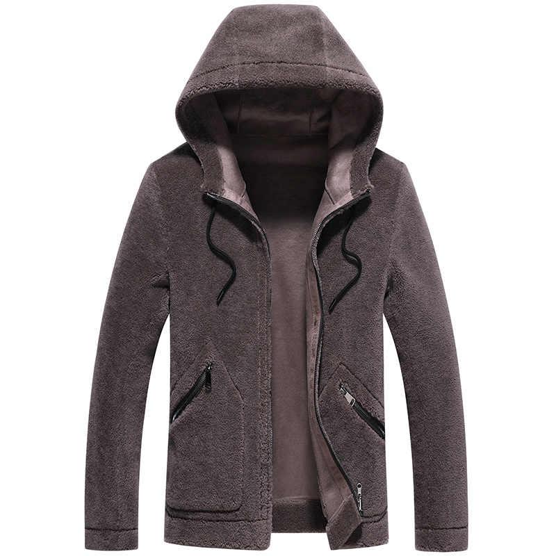 Гранулированный шерсти пальто с мехом 2019 осень и зима новая мужская куртка повседневная куртка с капюшоном пальто с двойным лицом короткая куртка мужская верхняя одежда & пальто